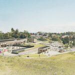 Oppholdsareal på tak et og skolegården sett fra Grønnlia
